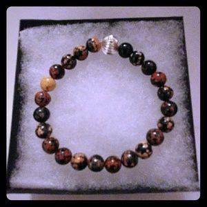 Jewelry - Red Snowflake Obsidian Stone Bracelet